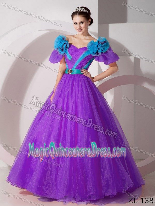 Off the Shoulder A-line Floor-length Purple Quinceanera Gowns with Flowers