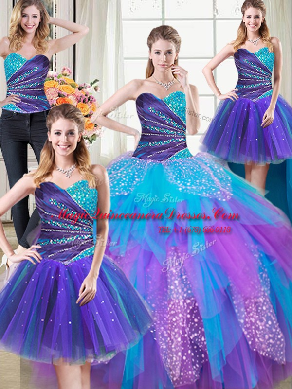 Fantastic Four Piece Tulle Sleeveless Floor Length Quinceanera Gown and Beading and Ruffles