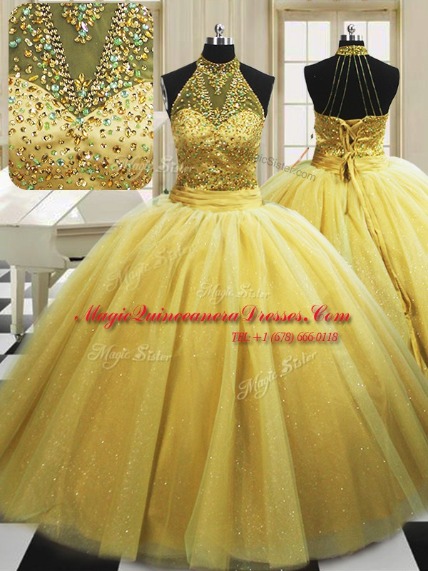 Cute With Train Lace Up 15th Birthday Dress Yellow for