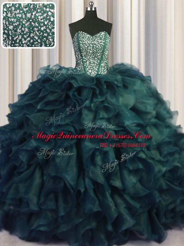 43fe1f79ee5 Wonderful Visible Boning Bling-bling Sweetheart Sleeveless Sweet 16 Dresses  With Brush Train Beading and Ruffles ...