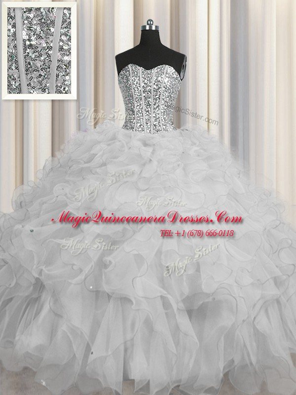 4ec092b91c8 Visible Boning Grey Tulle Lace Up Vestidos de Quinceanera Sleeveless Floor  Length Beading and Ruffles and Sequins