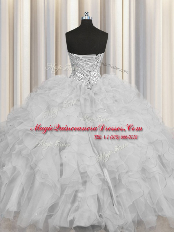 e48d054c9e2 Visible Boning Grey Tulle Lace Up Vestidos de Quinceanera Sleeveless ...
