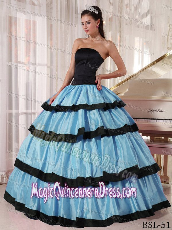Blue and Black Ball Gown Strapless Taffeta Quinceanera Dress in ...