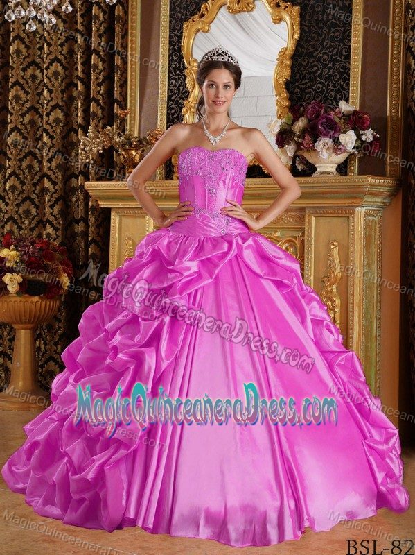 e859723190 Hot Pink Sweetheart Taffeta Embroidery and Beading Quinceanera Dress in Reno