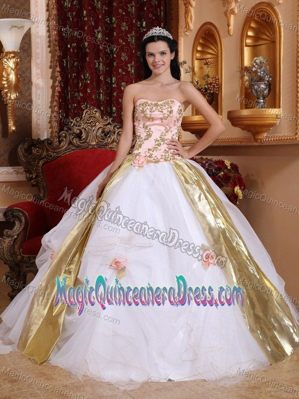 Appliques White Strapless Sweet Sixteen Dresses in Mexicali