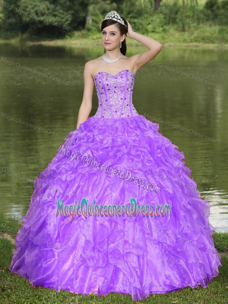 Gowns Sweetheart Beaded Ruffles in Light Purple