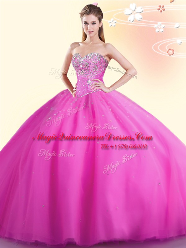 Low Price Hot Pink Sleeveless Beading Floor Length Quince Ball Gowns
