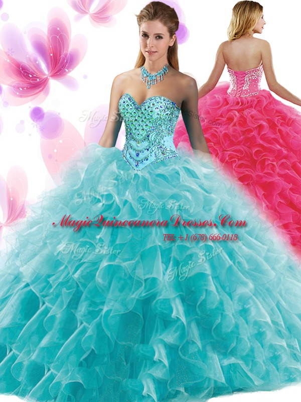 d3981eb150d Extravagant Organza Sleeveless Floor Length Quinceanera Gowns and Beading  and Ruffles