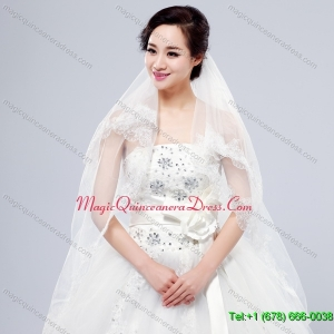 Elegant One Tier Lace Edge Elbow Veils for Wedding Party