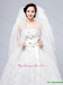Elegant White Angle Cut Multi Tier Finished Edge Bridal Veils
