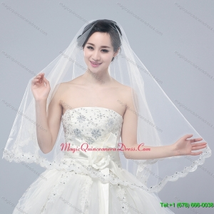 Angle Cut Two Tier Lace Appliques Edge Chapel Bridal Veils