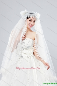 Cheap One Tier Lace Edge Drop Veil Wedding Veils