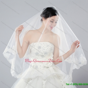 Eelgant One Tier Angle Cut Bridal Veils with Lace Edge