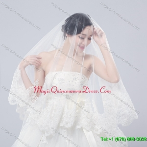One Tier Drop Veil Bridal Veils with Lace Appliques Edge