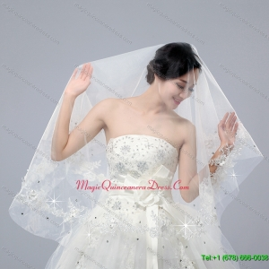 One Tier Drop Veil Cut Edge 2014 White Bridal Veils
