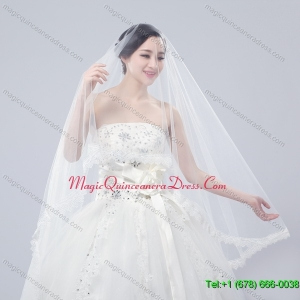 One Tier Drop Veil Scalloped Edge Angle Cut Wedding Veils