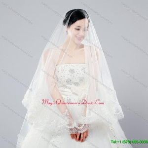 Two Tier Drop Veil Tulle Lace Appliques Edge Wedding Veils