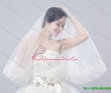 Two Tier Lace Edge Wedding Veils with Angle Cut