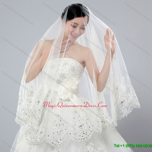 2014 Cheap Two Tier White Fingertip Veil with Lace Edge