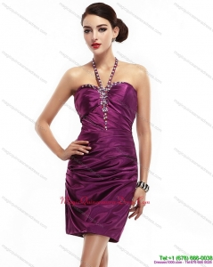 2015 Halter Top Short Dama Dresses with Ruching and Beading