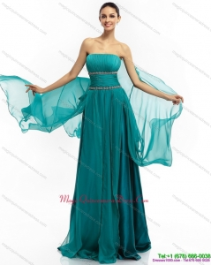 2015 Inexpensive Strapless Dama Dress with Ruching and Beading