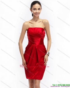 2015 Most Popular Strapless Ruching Dama Dresses in Red