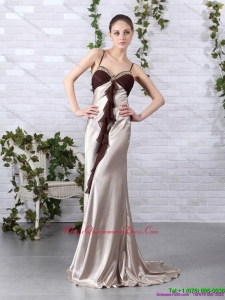 2015 Multi Color Beading Long Dama Dresses with Backless and Brush Train