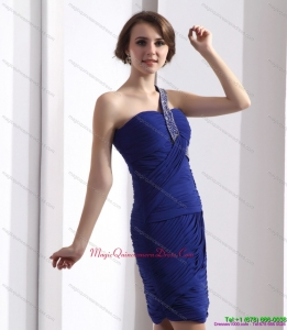 2015 One Shoulder Dama Dresses with Ruffles and Beading