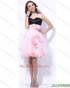 2015 Sweetheart Sequins and Hand Made Flowers Dama Dresses in Pink and Black