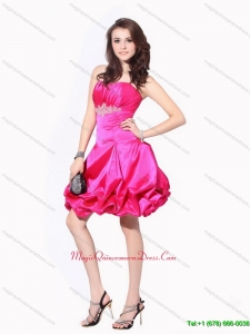 Affordable 2015 Ruching Strapless Dama Dresses with Pick Ups and Appliques