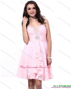 Affordable Baby Pink Dama Dresses with Beading and Ruching