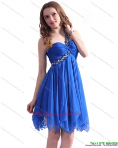 Affordable Blue One Shoulder Dama Dresses with Ruffles