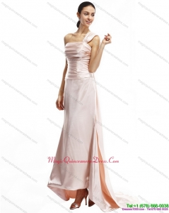 Affordable Champagne One Shoulder Ruching Dama Dresses with Brush Train