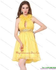 Affordable Halter Top Ruffled Dama Dresses with Beading