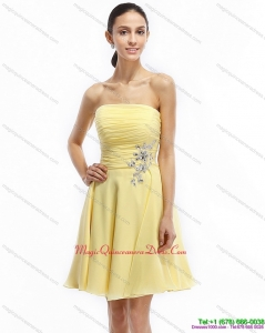 Affordable Strapless Mini Length Dama Dresses with Ruching