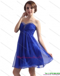 Affordable Sweetheart Blue 2015 Dama Dresses with Beading and Ruching