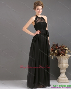 Gorgeous 2015 Halter Top Sash Dama Dress in Black