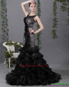 2015 Affordable Mermaid Dama Dress with Ruffled Layers and Brush Train