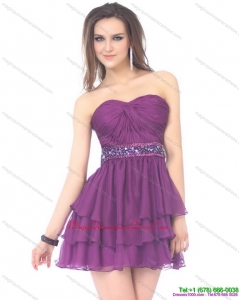 2015 Beautiful Sweetheart Mini Length Dama Dress with Sequins and Ruching