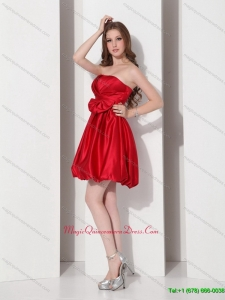 2015 Gorgeous Strapless Bowknot Mini Length Dama Dress in Red