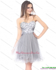 2015 Luxurious Sweetheart Grey Dama Dress with Rhinestones