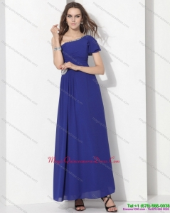 2015 Modest One Shoulder Blue Dama Dress with Ruching and Beading