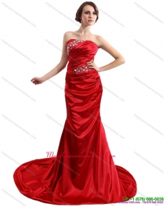 2015 Popular Ruching and Beading Dama Dress with Brush Train