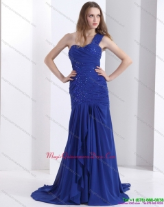 2015 Pretty 2015 One Shoulder Dama Dress with Ruching and Beading