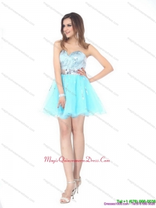 2015 The Super Hot Sweetheart Light Blue Dama Dress with Sequins