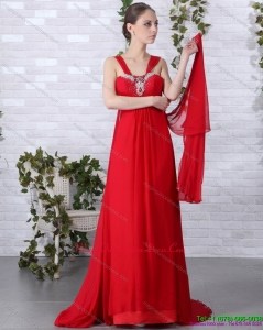 Affordable 2015 Beautiful Empire Red Dama Dress with Brush Train and Beading