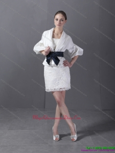 Affordable 2015 Lovely Strapless White Dama Dress with Lace and Belt