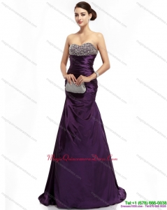 Affordable 2015 Romantic Brush Train Dama Dress with Ruching and Beading