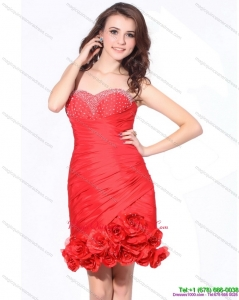 Affordable Beaded Red Sweetheart Dama Dresses with Hand Made Flowers and Ruching