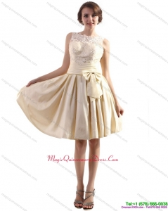 Affordable High Neck Dama Dresses with Ruching and Bowknot